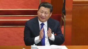 Kiinan presidentti Xi Jinping parlamentin avajaisistunnossa maaliskuussa Pekingissä.