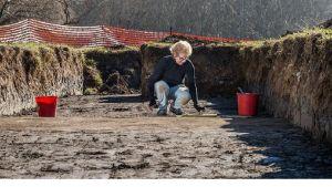 Arkeologi puhdistaa avatun alueen pintaa kaivannossa.