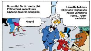 Huutokauppakeisari Aki Palsanmäki pääsi Aku Ankan sivuille.