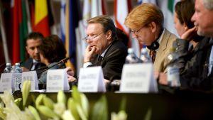 Puheenjohtaja Ilkka Kanerva Etyj:n yleiskokouksessa Helsingissä 8. heinäkuuta 2015.