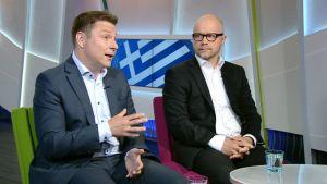 UPI:n ohjelmajohtaja Juha Jokela (vas.) ja Nordean tutkimusjohtaja Aki Kangasharju.