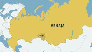 Venäjän kartta, johon merkitty Omskin alue.