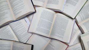 Auki olevia kirjoja.
