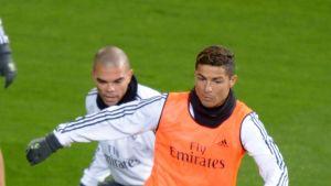 Pepe ja Cristiano Ronaldo Real Madridin harjoituksissa 2015.