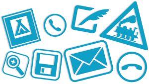 Monissa symboleissa käytetään käytöstä jo pääosin poistuneita esineitä tai asioita.