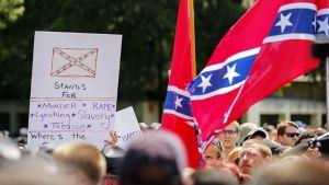 Mielenosoituskyltti ja etelävaltioiden lippu.