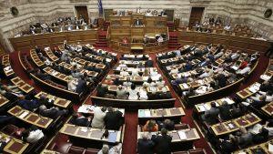 Kreikan parlamentin istuntosali.