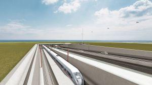 Piirrokuva tunnelin suulta, jossa kulkee pari autoa ja juna.