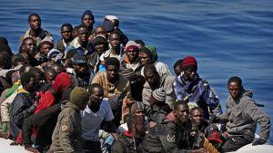 Siirtolaisia veneessä.