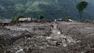Kyläläiset etsivät maanvyöryn uhreja Lumlen kylässä Kaskin maakunnassa, Nepalissa 30. heinäkuuta.