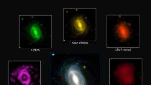 Tyypillisen galaksin näkyminen eri aallonpituuksilla.