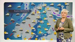 Seija Paasonen ennustaa elokuisen maanantain säätä.