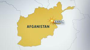 Afganistanin kartta, jossa on pääkaupunki Kabul sekä sen päällä räjähdyksen symboli.