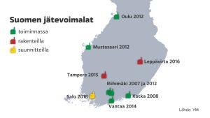Suomen jätevoimalat -grafiikka