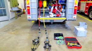 Paloauton varusteita