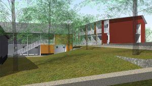 Havainnekuva yhtiön hankkeesta Tampereella. OIkealla punapäätyine talo, vasemmalla keltaista väriä.