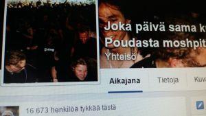 Joka päivä sama kuva Pekka Poudasta moshpitissä  -sivuston profiili- ja kansikuva. Kuvassa ihmisä tanssimassa.