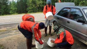 Thaipoimijoita valmistautumassa metsään lähtöön.