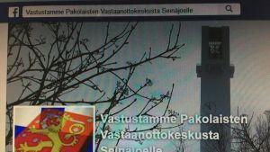 """Ruutukaappaus """"Vastustamme pakolaisten vastaanottokeskusta Seinäjoelle""""-facebook-ryhmästä."""