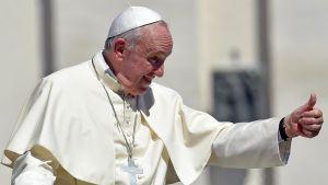 Paavi Franciscus peukuttaa.