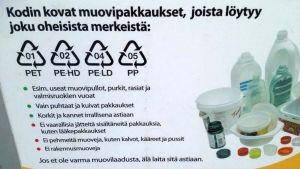 Kierrätettävien muovipakkausten kuvia ja tunnuksia