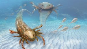 Taitelijan näkemys Pentecopterus-skorpioneista.