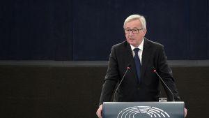 Euroopan komission puheenjohtaja Jean-Claude Juncker puhui EU:n parlamentissa Strasbourgissa, Ranskassa keskiviikkona.