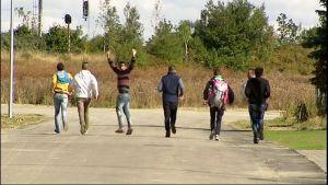 Nuoria miehiä tiellä kävelemässä poispäin.