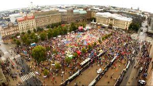 ilmakuva mielenosoituksesta