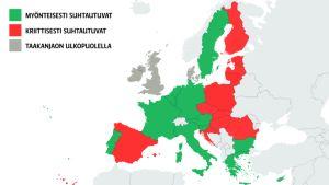 Kartta Euroopan maiden pakolaislinjoista.
