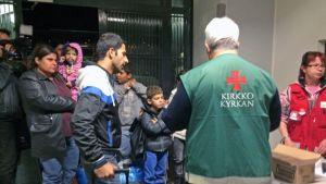 Turvapaikanhakijoita Lahden Hennalan hätämajoituksessa.
