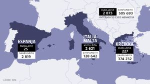 Kartta Välimeren yli tulleista ja menehtyneistä pakolaisista