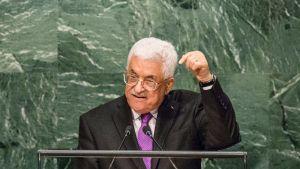 Palestiinan presidentti Mahmud Abbas puhui YK:n yleiskokouksessa New Yorkin kaupungissa 30. syyskuuta.