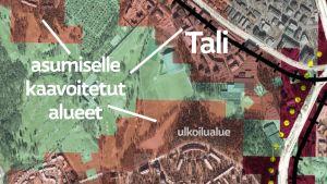 Munkkivuoren ja Talin välissä olevalle ulkoilualueelle on suunniteltu asuinrakentamista.