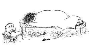 Piirros nukkuvasta vanhemmasta ja lapsesta.