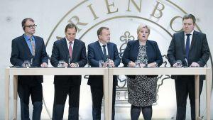 Pohjoismaiden pääministerit rivissä.