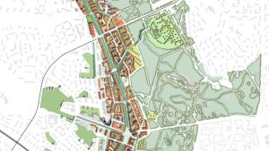 Osa ensimmäistä ehdotusta Helsingin uudeksi yleiskaavaksi.  Tähän versioon on jo Keskuspuiston kohdalle tehty pieniä muutoksia.