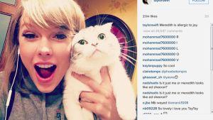 Kuvakaappaus Taylor Swiftin Instagram-tililtä.