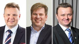 Jääkiekkoliiton puheenjohtajaehdokkaat: Harri Nummela, Heikki Hiltunen ja Jukka Toivakka.