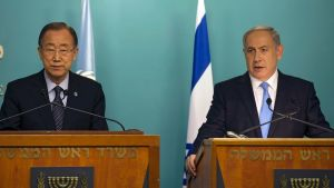 YK:n pääsihteeri Ban Ki-moon ja Israelin pääministeri Benjamin Netanjahu Jerusalemissa.