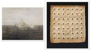 Titanicin mahdollisesti upottaneesta jäävuoresta otettu valokuva vasemmalla sekä risteilijän pelastusveneestä talteen poimittu keksi oikealla.