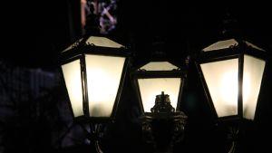 Lappeenrannan keskustan valoja.