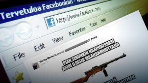 Facebook-sivu, jonka päällä aseen kuva