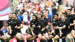 Uuden-Seelannin rugbyjoukkue esittää perinteisen haka-tanssin.