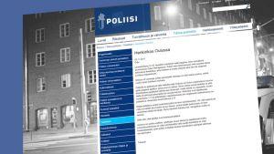 Symbolikuva poliisin tiedottamisesta, poliisin tiedote uoptettuna kaupunkikuvaan, harmaa rakennus taustalla.