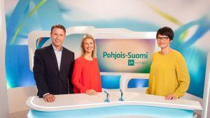 Kuvassa vasemmalta Mikko Hirvonen, Milla Madetoja ja Salla Paajanen