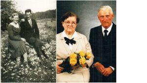Pariskunta kihlajaispäivänä ja kultahääpäivänä