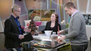 Tiia Westman ja Brynn Phipps aamu-TV:ssä.