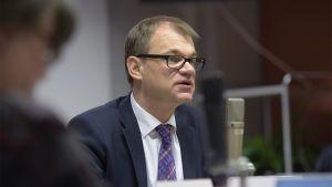 Pääministeri Juha Sipilä mikrofonin takana.