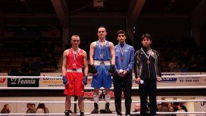 Tammer-turnauksen 56 kilon sarjan palkintojenjako.